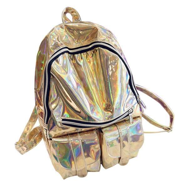 Out Of This World Holographic Backpack-Shelfies-Gold-| All-Over-Print Everywhere - Designed to Make You Smile