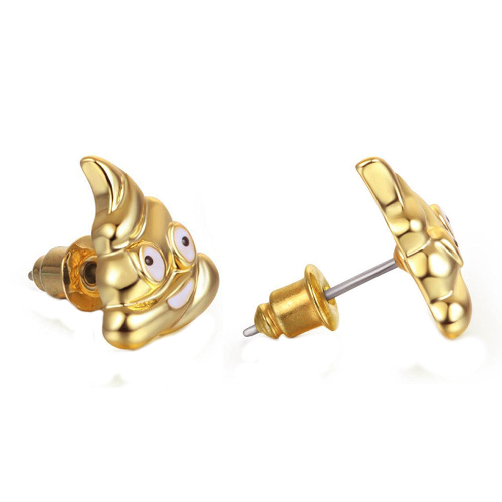 Poop Emoji Women Stud Earrings-Shelfies-Gold-one-size-| All-Over-Print Everywhere - Designed to Make You Smile