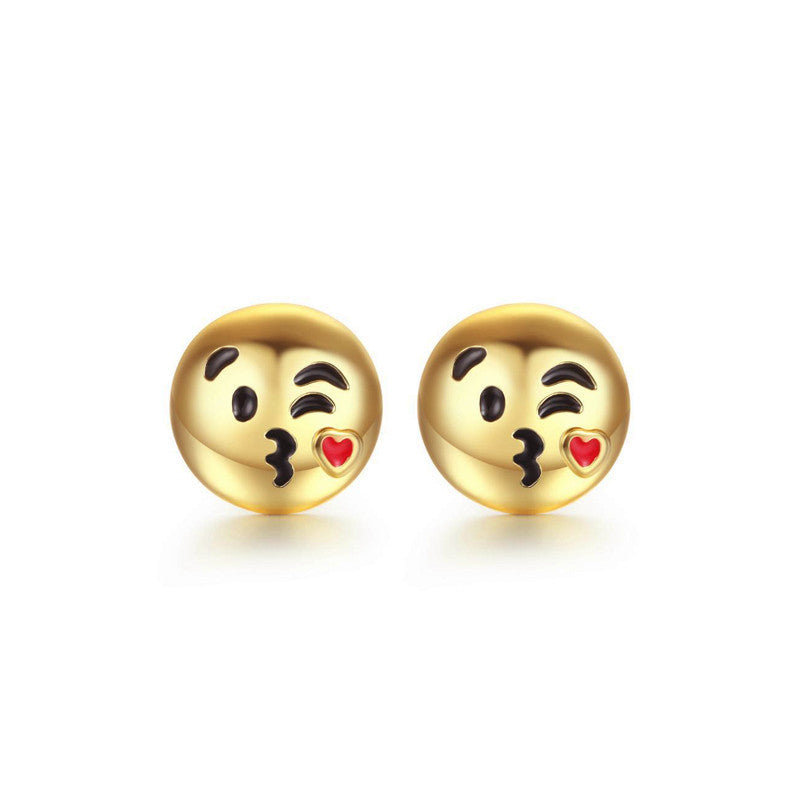 Blowing Kisses Emoji Emoji Women Stud Earrings-Shelfies-Gold-one-size-| All-Over-Print Everywhere - Designed to Make You Smile