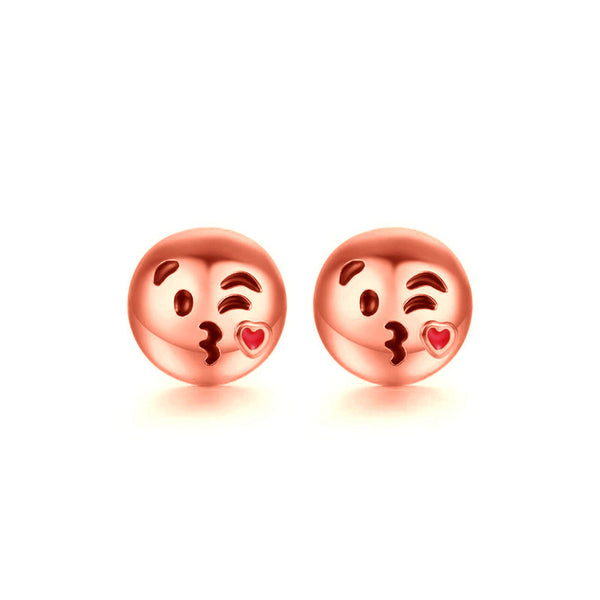 Blowing Kisses Emoji Emoji Women Stud Earrings-Shelfies-Rose Gold-one-size-| All-Over-Print Everywhere - Designed to Make You Smile