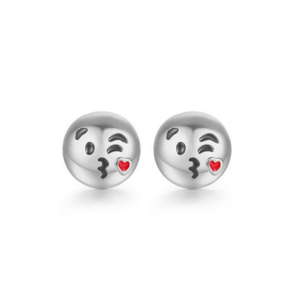 Blowing Kisses Emoji Emoji Women Stud Earrings-Shelfies-Silver-one-size-| All-Over-Print Everywhere - Designed to Make You Smile
