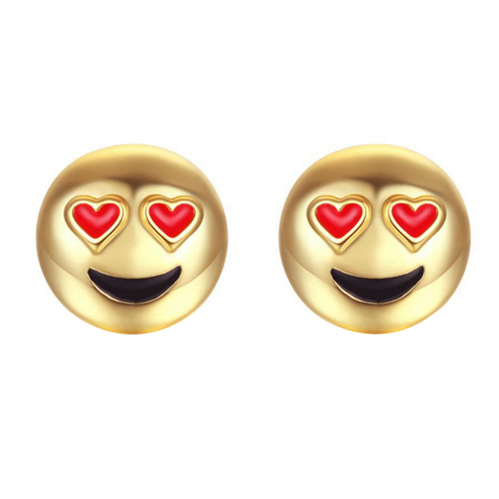 Heart Eyes Emoji Emoji Women Stud Earrings-Shelfies-Gold-one-size-| All-Over-Print Everywhere - Designed to Make You Smile
