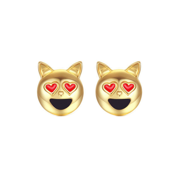 Dog Head Emoji Women Stud Earrings-Shelfies-Gold-one-size-| All-Over-Print Everywhere - Designed to Make You Smile