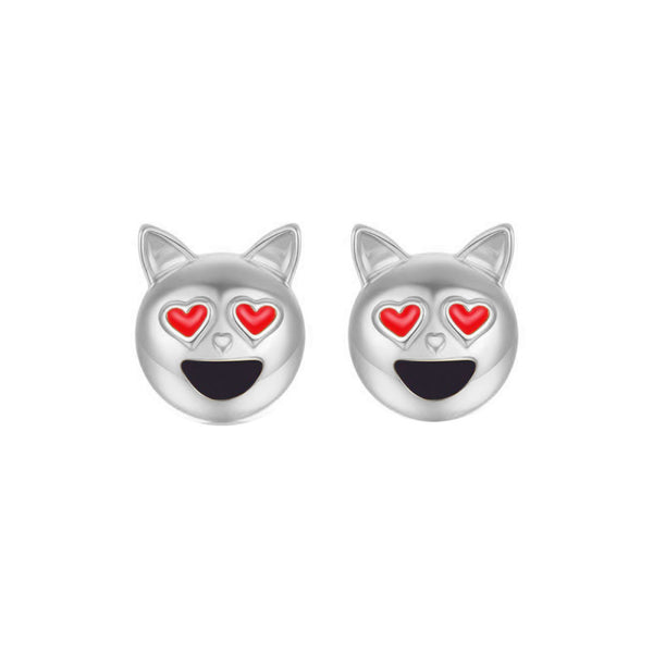 Dog Head Emoji Women Stud Earrings-Shelfies-Silver-one-size-| All-Over-Print Everywhere - Designed to Make You Smile