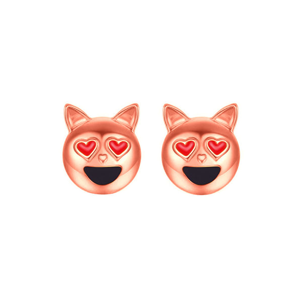 Dog Head Emoji Women Stud Earrings-Shelfies-Rose Gold-one-size-| All-Over-Print Everywhere - Designed to Make You Smile