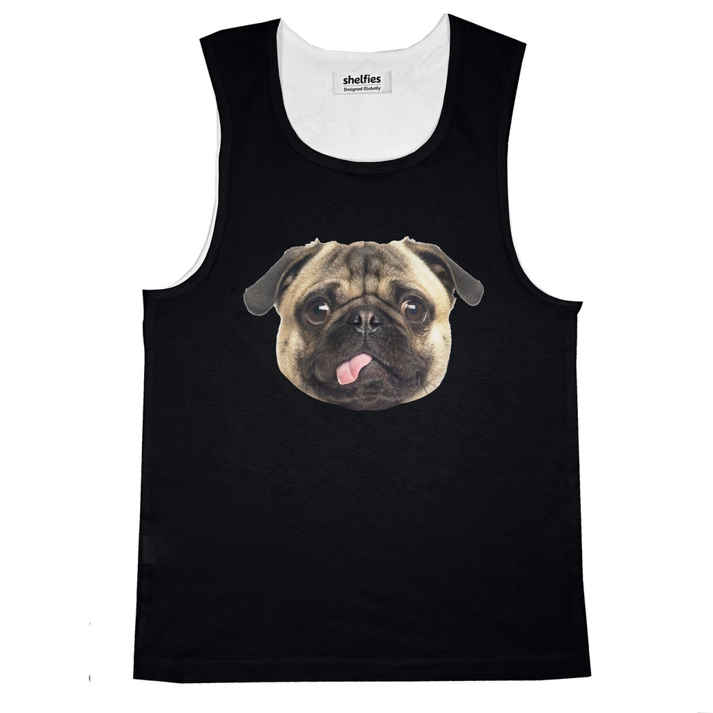 Pug Face Basic Tank Top-Printify-Black-S-| All-Over-Print Everywhere - Designed to Make You Smile