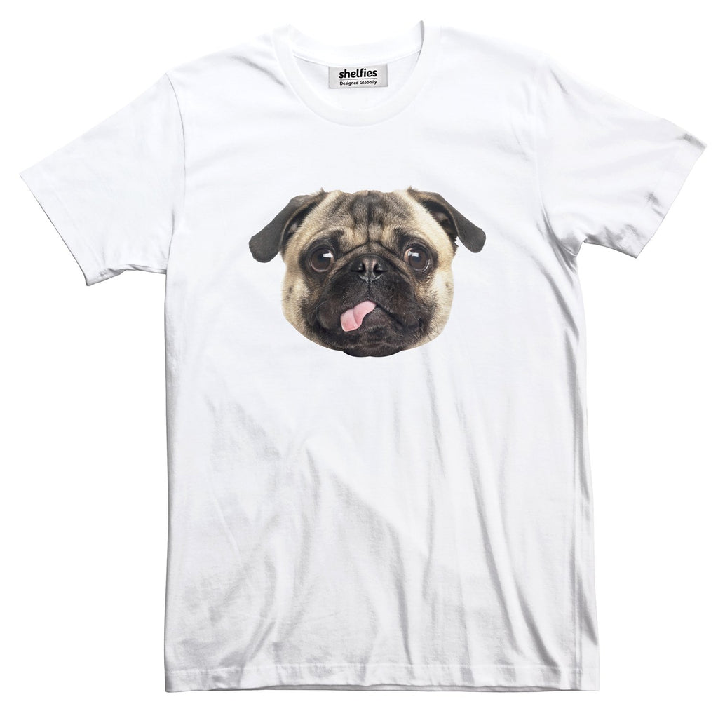 Pug Face Basic T-Shirt-Printify-White-S-| All-Over-Print Everywhere - Designed to Make You Smile