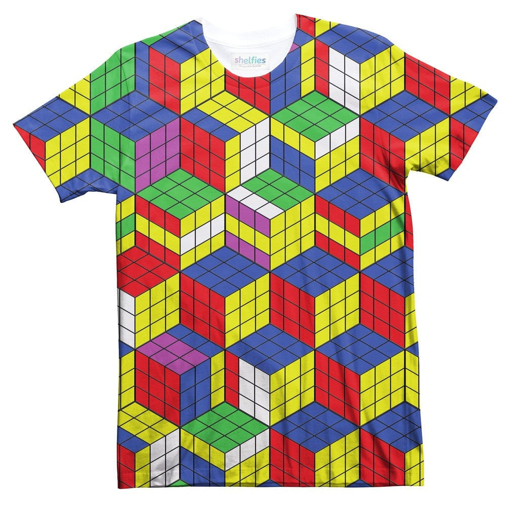 Rubik's Cube Invasion T-Shirt-Shelfies-| All-Over-Print Everywhere - Designed to Make You Smile