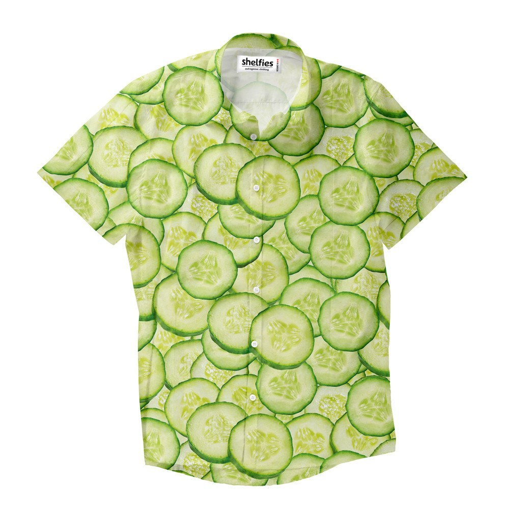 Cucumber Short-Sleeve Button Down Shirt - Shelfies | All-Over-Print Everywhere - Designed to Make You Smile