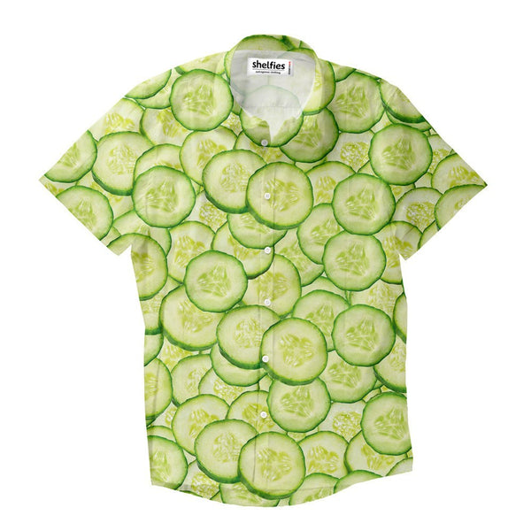 Cucumber Invasion Short-Sleeve Button Down Shirt-Shelfies-| All-Over-Print Everywhere - Designed to Make You Smile