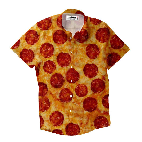 Party Pizza Short-Sleeve Button Down Shirt-Shelfies-XS-| All-Over-Print Everywhere - Designed to Make You Smile