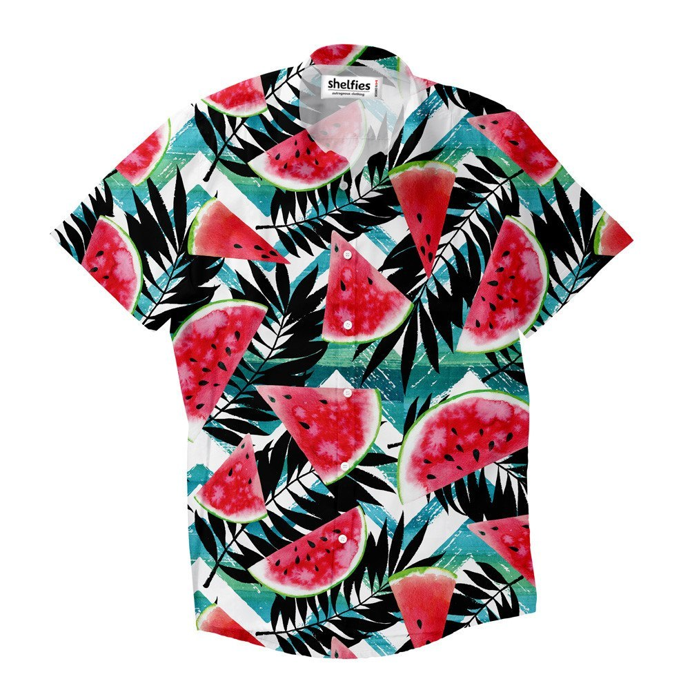 Short-Sleeve Button Down Shirt - Tropical Melons Short-Sleeve Button Down Shirt