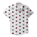 Short-Sleeve Button Shirts - 8-Bit Heart Short-Sleeve Button Down Shirt