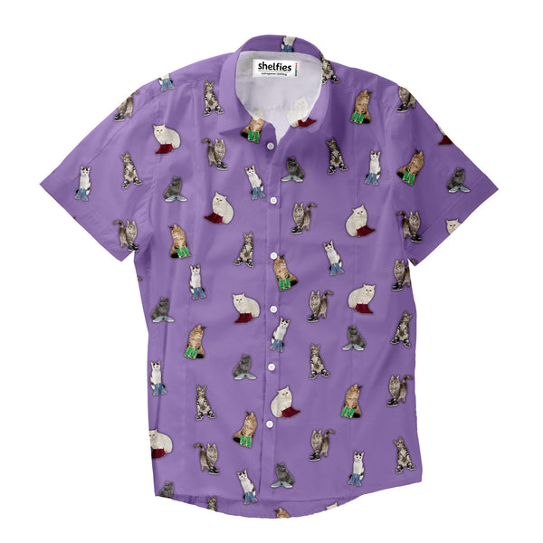 Short-Sleeve Button Shirts - Cat With New Shoes Short-Sleeve Button Down Shirt