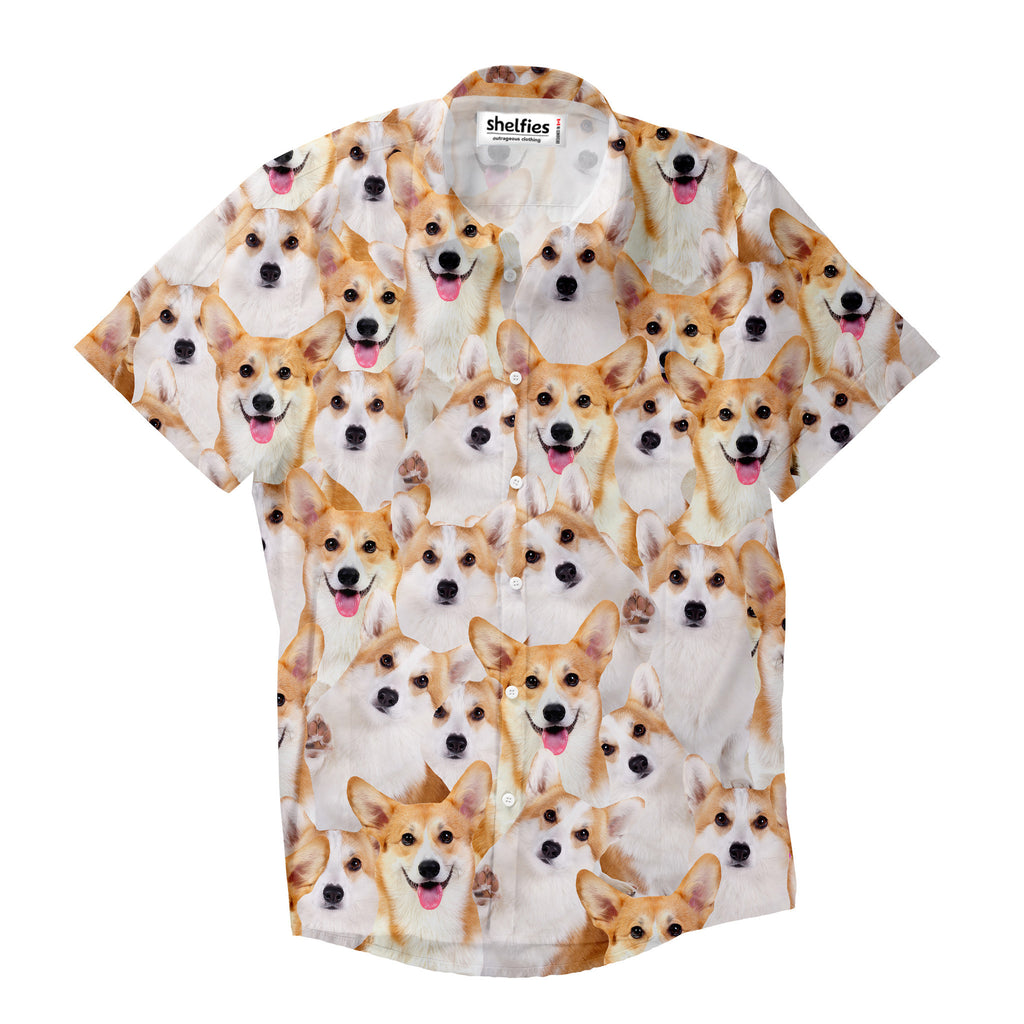 Short-Sleeve Button Shirts - Corgi Invasion Short-Sleeve Button Down Shirt