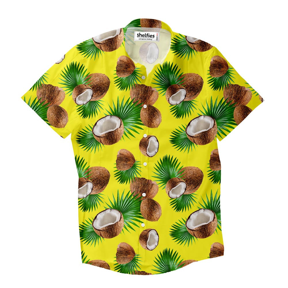 Cuban Coconut Short-Sleeve Button Down Shirt-Shelfies-XS-| All-Over-Print Everywhere - Designed to Make You Smile