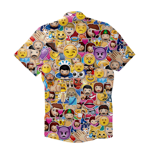 Emoji Invasion Short-Sleeve Button Down Shirt-Shelfies-XS-| All-Over-Print Everywhere - Designed to Make You Smile