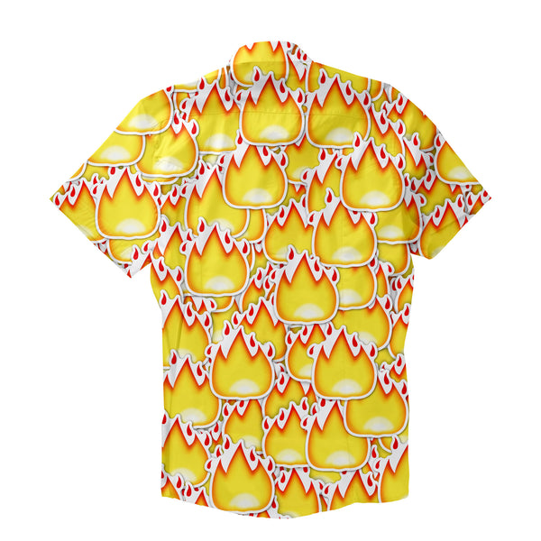 Fire Emoji Invasion Short-Sleeve Button Down Shirt-Shelfies-| All-Over-Print Everywhere - Designed to Make You Smile