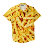 French Fries Invasion Short-Sleeve Button Down Shirt-Shelfies-| All-Over-Print Everywhere - Designed to Make You Smile
