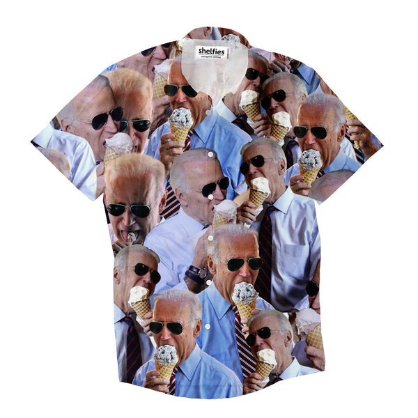 Joe Biden Ice Cream Invasion Short-Sleeve Button Down Shirt-Shelfies-| All-Over-Print Everywhere - Designed to Make You Smile