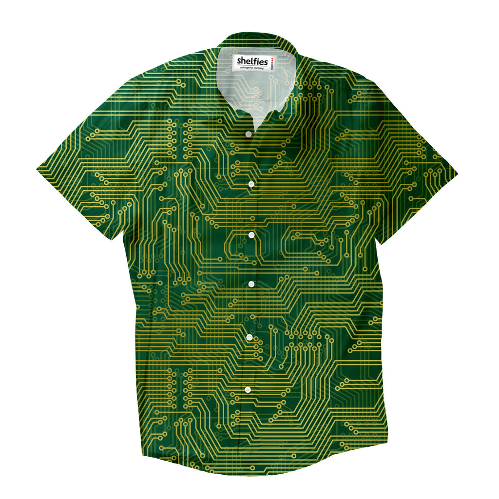 Microchip Short-Sleeve Button Down Shirt-Shelfies-XS-| All-Over-Print Everywhere - Designed to Make You Smile