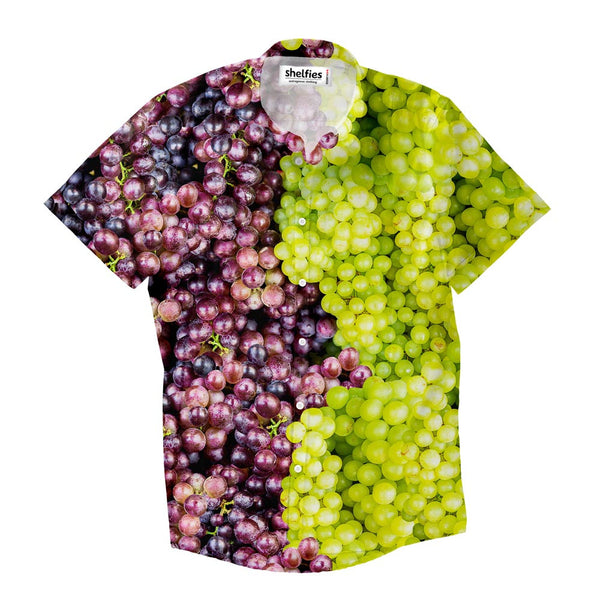Mixed Grapes Short-Sleeve Button Down Shirt-Shelfies-XS-| All-Over-Print Everywhere - Designed to Make You Smile