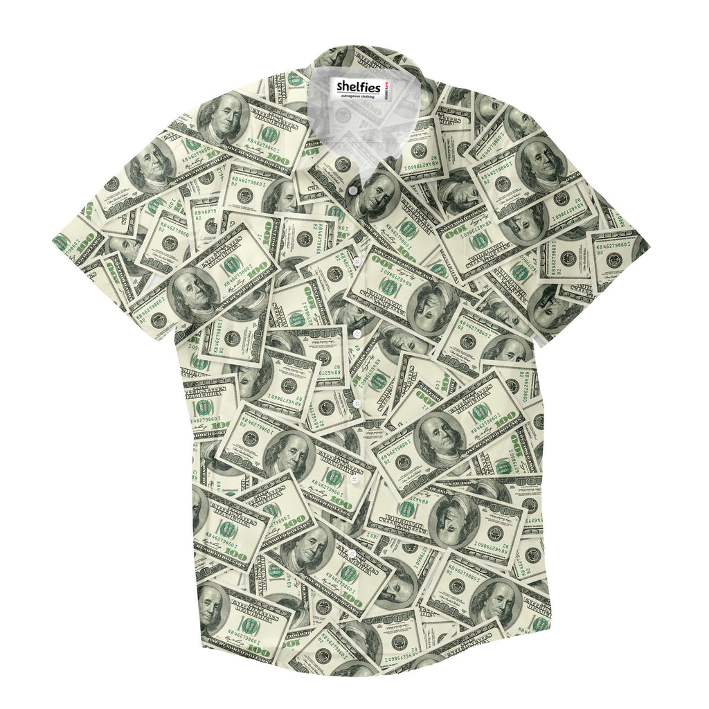 Money invasion baller short sleeve button down shirt for How to make a shirt with money