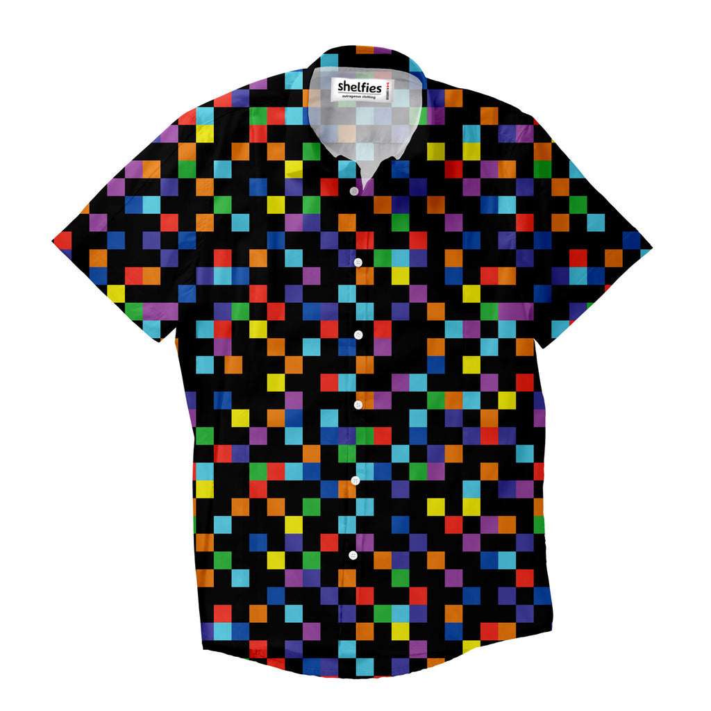 Short-Sleeve Button Shirts - Pixel Short-Sleeve Button Down Shirt