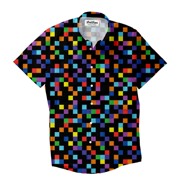 Pixel Short-Sleeve Button Down Shirt-Shelfies-XS-| All-Over-Print Everywhere - Designed to Make You Smile