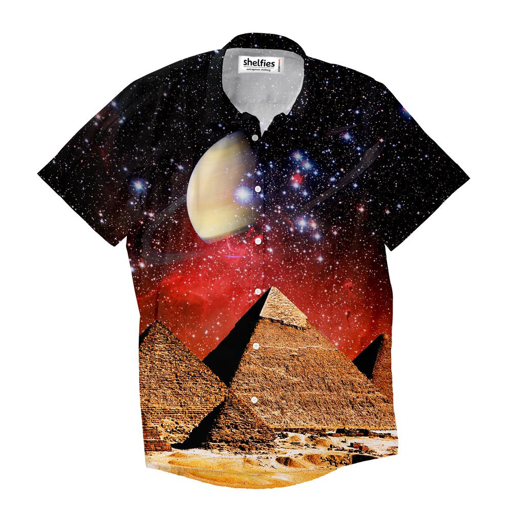 Galactic Pyramids Short-Sleeve Button Down Shirt - Shelfies | All-Over-Print Everywhere - Designed to Make You Smile