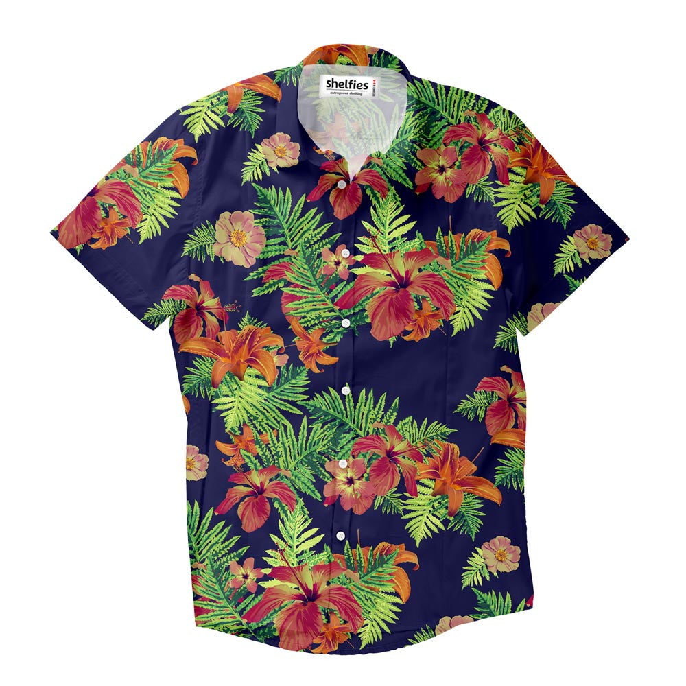Relaxed Florals Short-Sleeve Button Down Shirt-Shelfies-| All-Over-Print Everywhere - Designed to Make You Smile