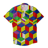Rubiks Cube Invasion Short-Sleeve Button Down Shirt - Shelfies | All-Over-Print Everywhere - Designed to Make You Smile