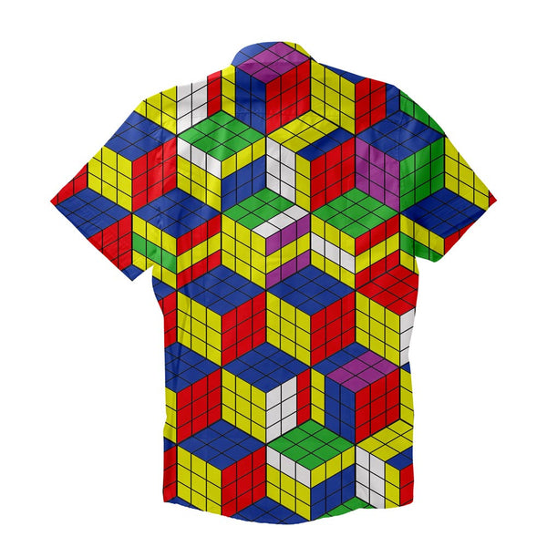 Rubiks Cube Invasion Short-Sleeve Button Down Shirt-Shelfies-| All-Over-Print Everywhere - Designed to Make You Smile