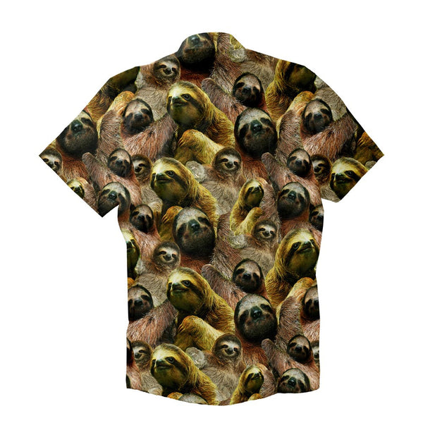 Sloth Invasion Short-Sleeve Button Down Shirt-Shelfies-| All-Over-Print Everywhere - Designed to Make You Smile