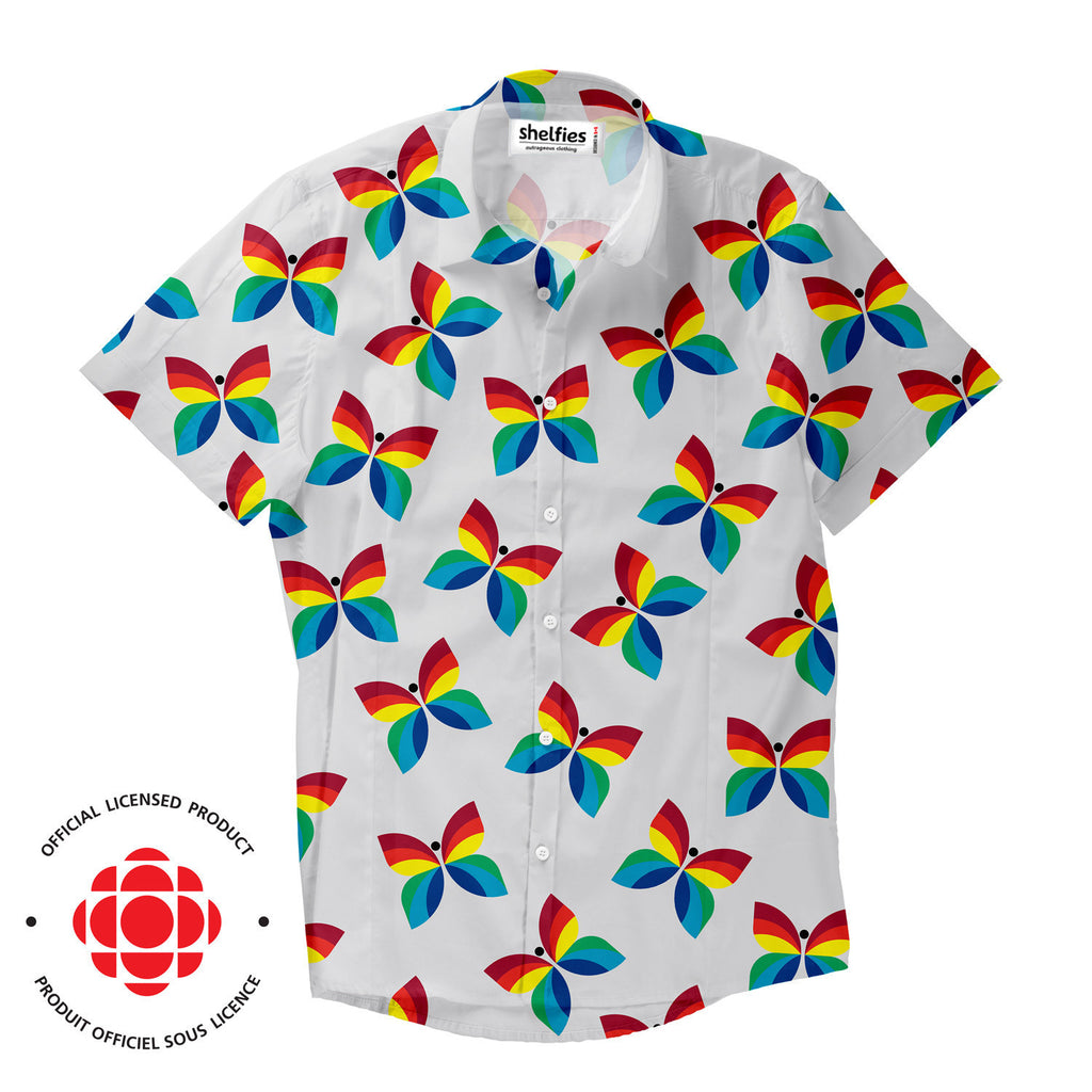 Short-Sleeve Button Shirts - The CBC Rainbow Butterfly Short-Sleeve Button Down Shirt