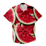 Watermelon Invasion Short-Sleeve Button Down Shirt-Shelfies-| All-Over-Print Everywhere - Designed to Make You Smile