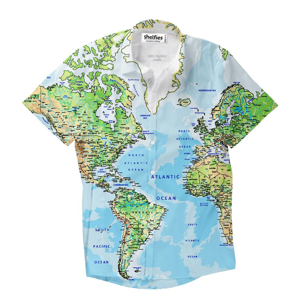 Short-Sleeve Button Shirts - World Map Short-Sleeve Button Down Shirt