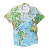 World Map Short-Sleeve Button Down Shirt-Shelfies-XS-| All-Over-Print Everywhere - Designed to Make You Smile