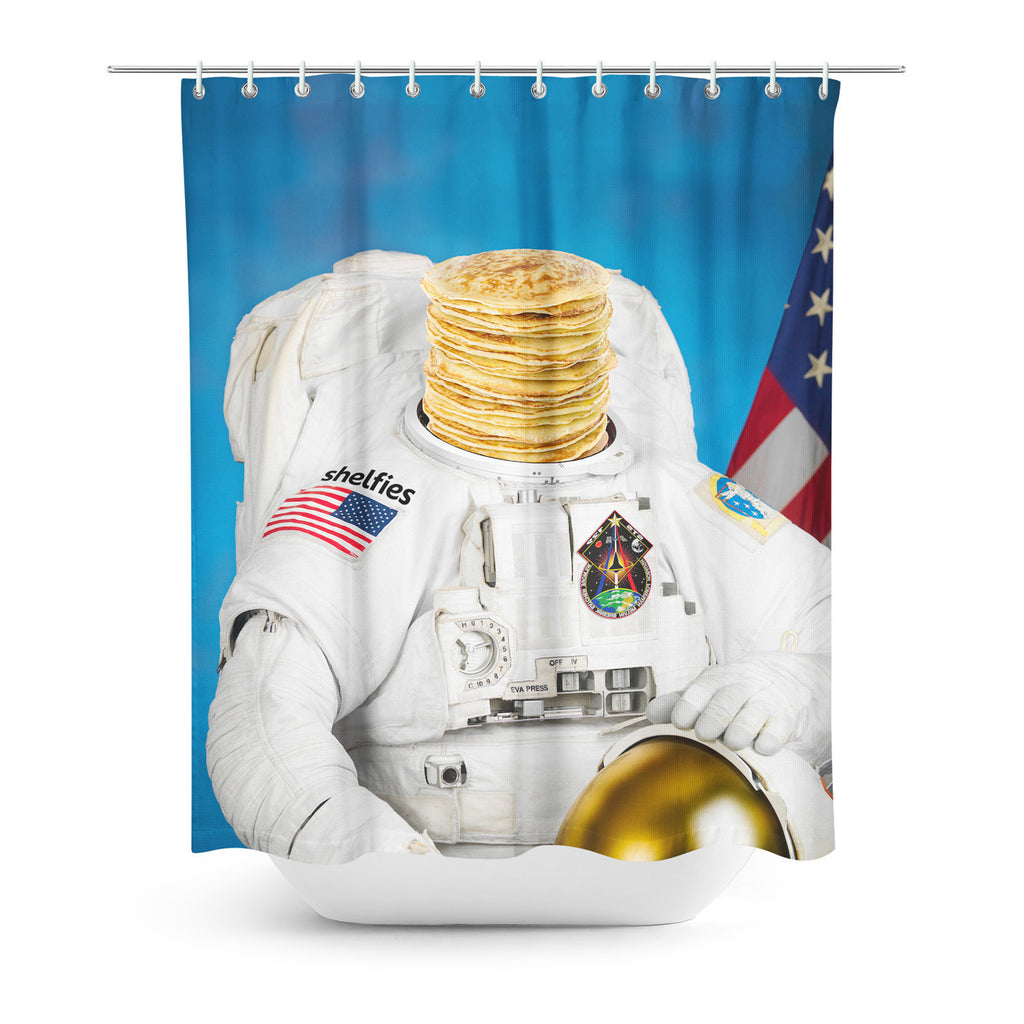Shower Curtains - Astronaut Pancakes Shower Curtain