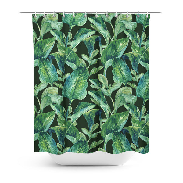 Banana Leaves Shower Curtain-Gooten-| All-Over-Print Everywhere - Designed to Make You Smile
