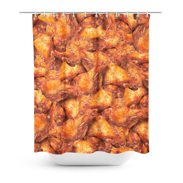 Shower Curtains - Chicken Wings Invasion Shower Curtain