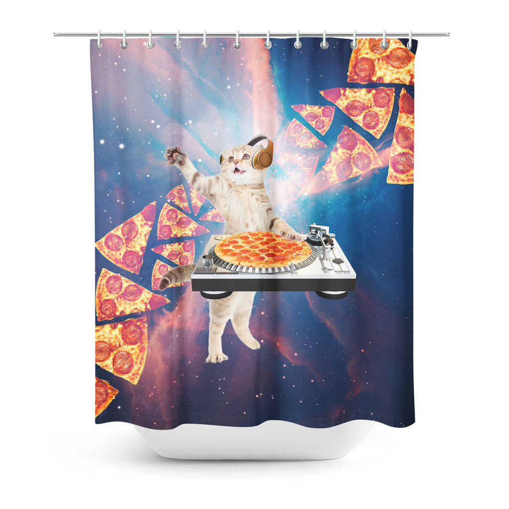 DJ Pizza Cat Shower Curtain