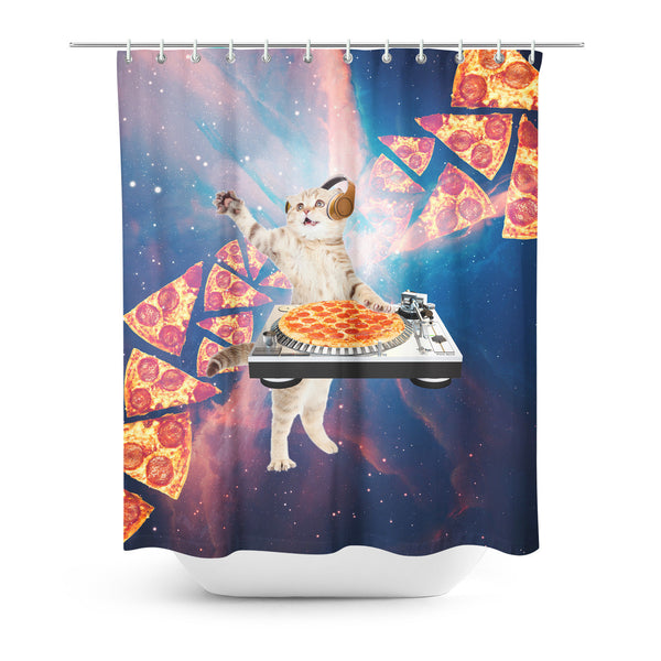 Shower Curtains - DJ Pizza Cat Shower Curtain