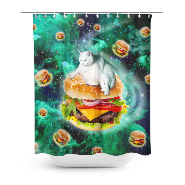 Hamburger Cat Shower Curtain-Gooten-| All-Over-Print Everywhere - Designed to Make You Smile