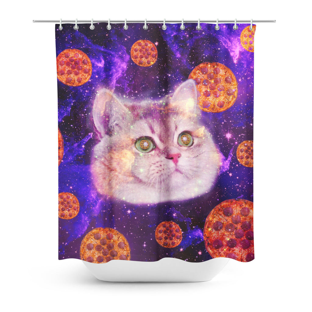 Merveilleux Heavy Breathing Cat Shower Curtain Gooten | All Over Print Everywhere