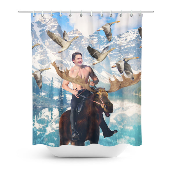 Moosin' Trudeau Shower Curtain-Gooten-| All-Over-Print Everywhere - Designed to Make You Smile