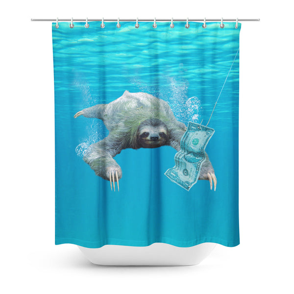Nirvana Sloth Shower Curtain-Gooten-| All-Over-Print Everywhere - Designed to Make You Smile