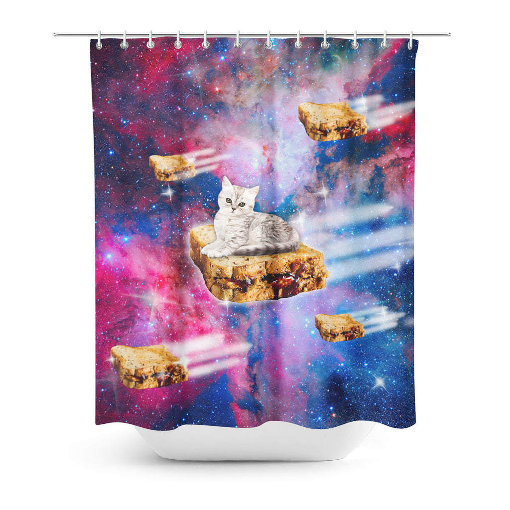Shower Curtains - PB&J Galaxy Cat Shower Curtain