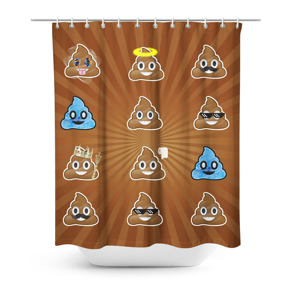 Poo Emoji Shower Curtain-Gooten-One Size-| All-Over-Print Everywhere - Designed to Make You Smile