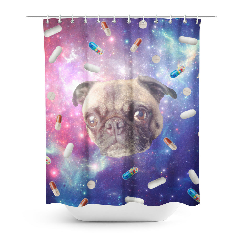 Pugs With Drugs Shower Curtain-Gooten-| All-Over-Print Everywhere - Designed to Make You Smile